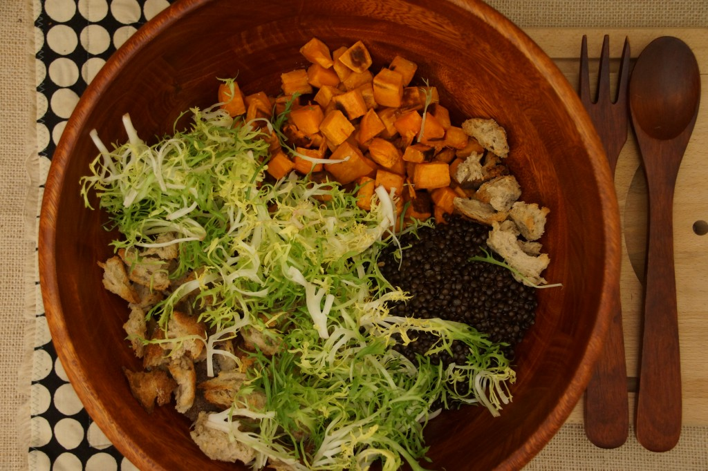 Beluga Lentil & Yam Panzanella Salad