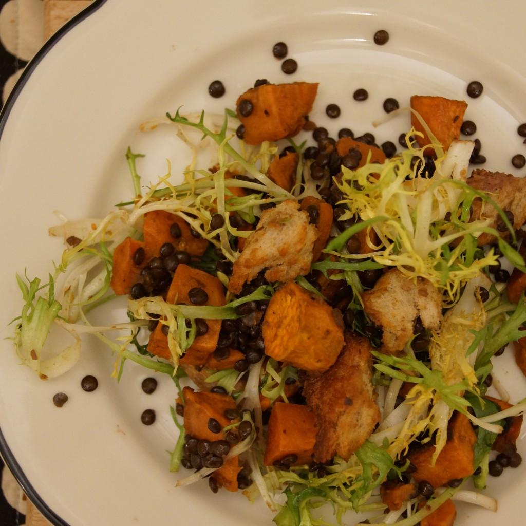 Beluga Lentil & Yam Winter Panzanella Salad