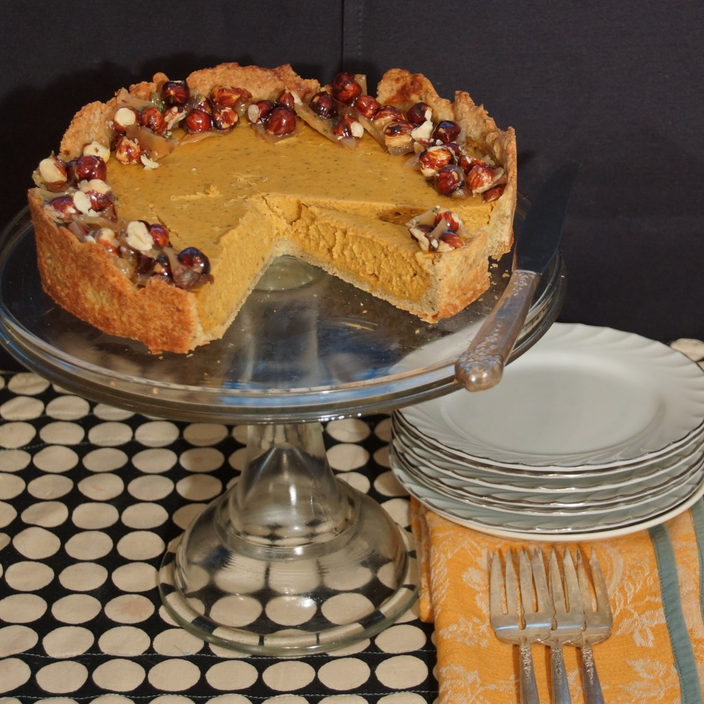 Pumpkin & Chevre Cheesecake with Candied Hazelnuts