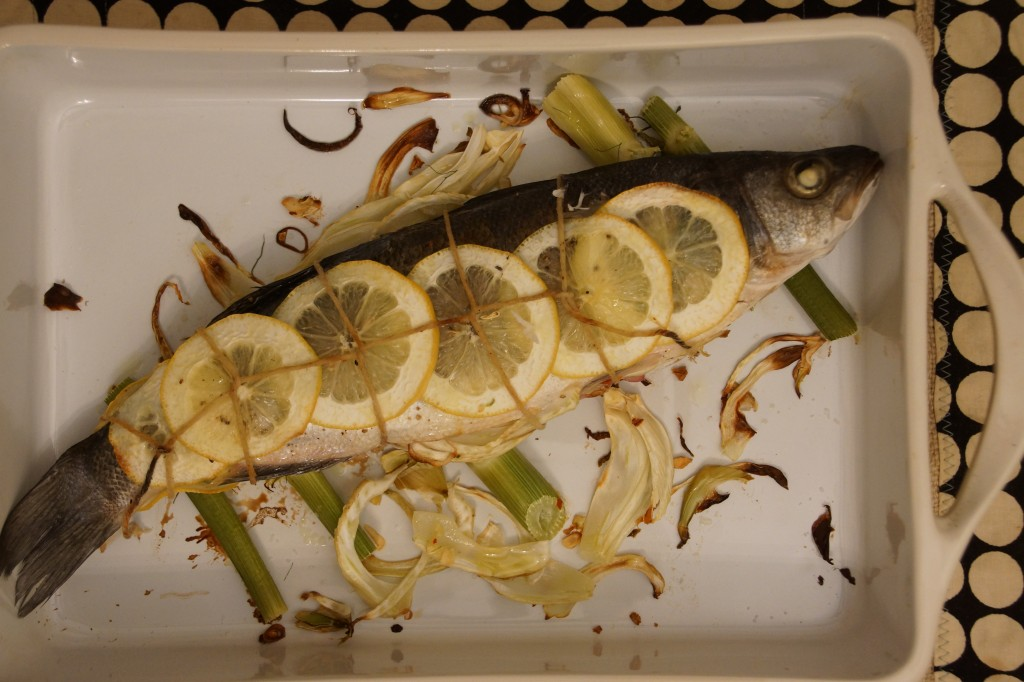 Mediterranean Sea Bass Baked with Lemon & Fennel