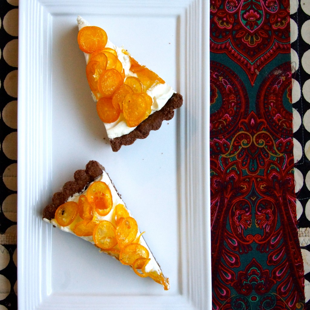Candied Kumquat & Mascarpone Tart with Spiced Chocolate Crust