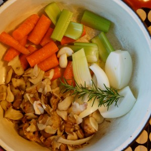 Vegetable Stock with Sunchoke Trimmings
