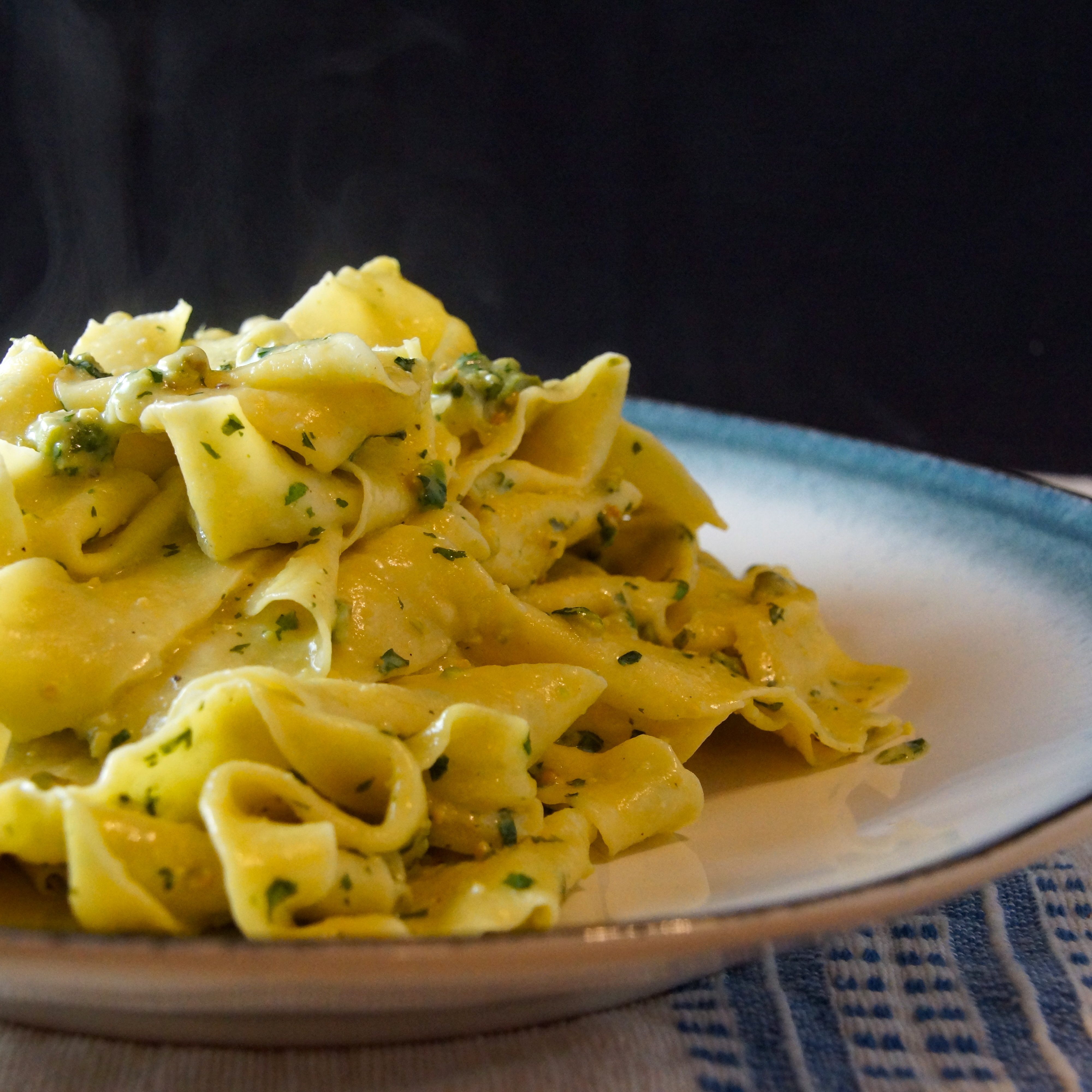 Pappardelle Pasta with Mint, Basil & Pistachio Pesto | strawberryplum