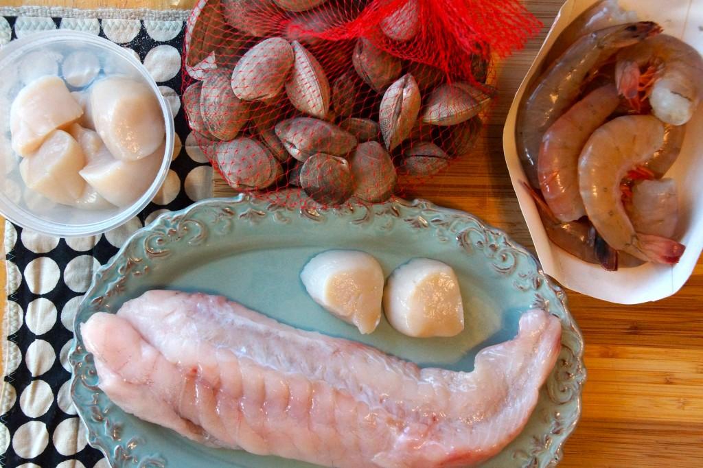 Monkfish, Scallops, Clams, Shrimp