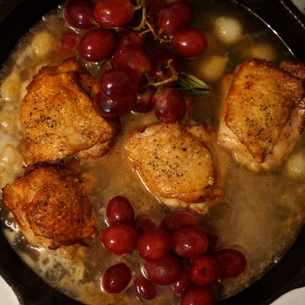 When the chicken is downright succulent, take the pan out of the oven ...