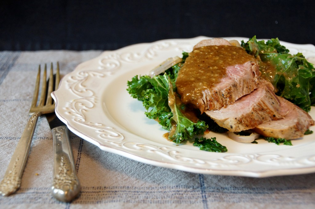 Maple-Walnut Pork Tenderloin with Wilted Kale