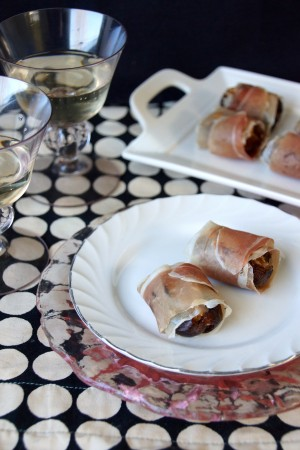 Prosciutto Wrapped Almond Butter & Chèvre Dates