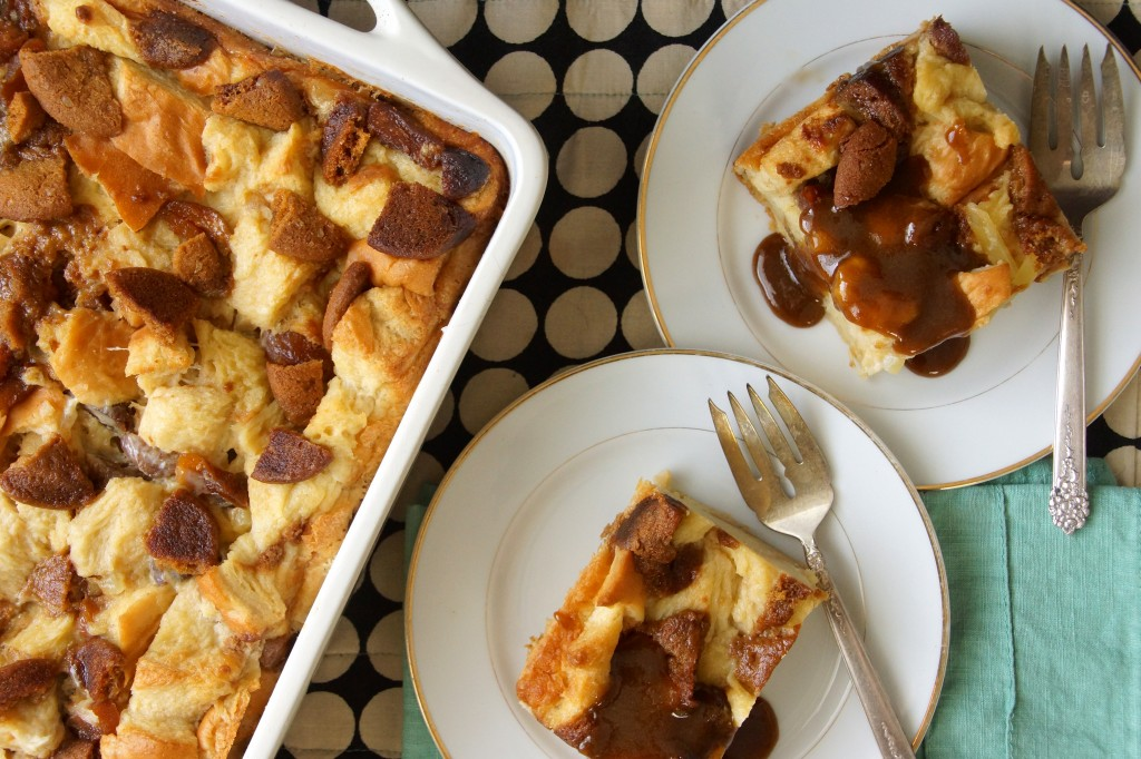 Gingersnap Bread Pudding with Bourbon Butter