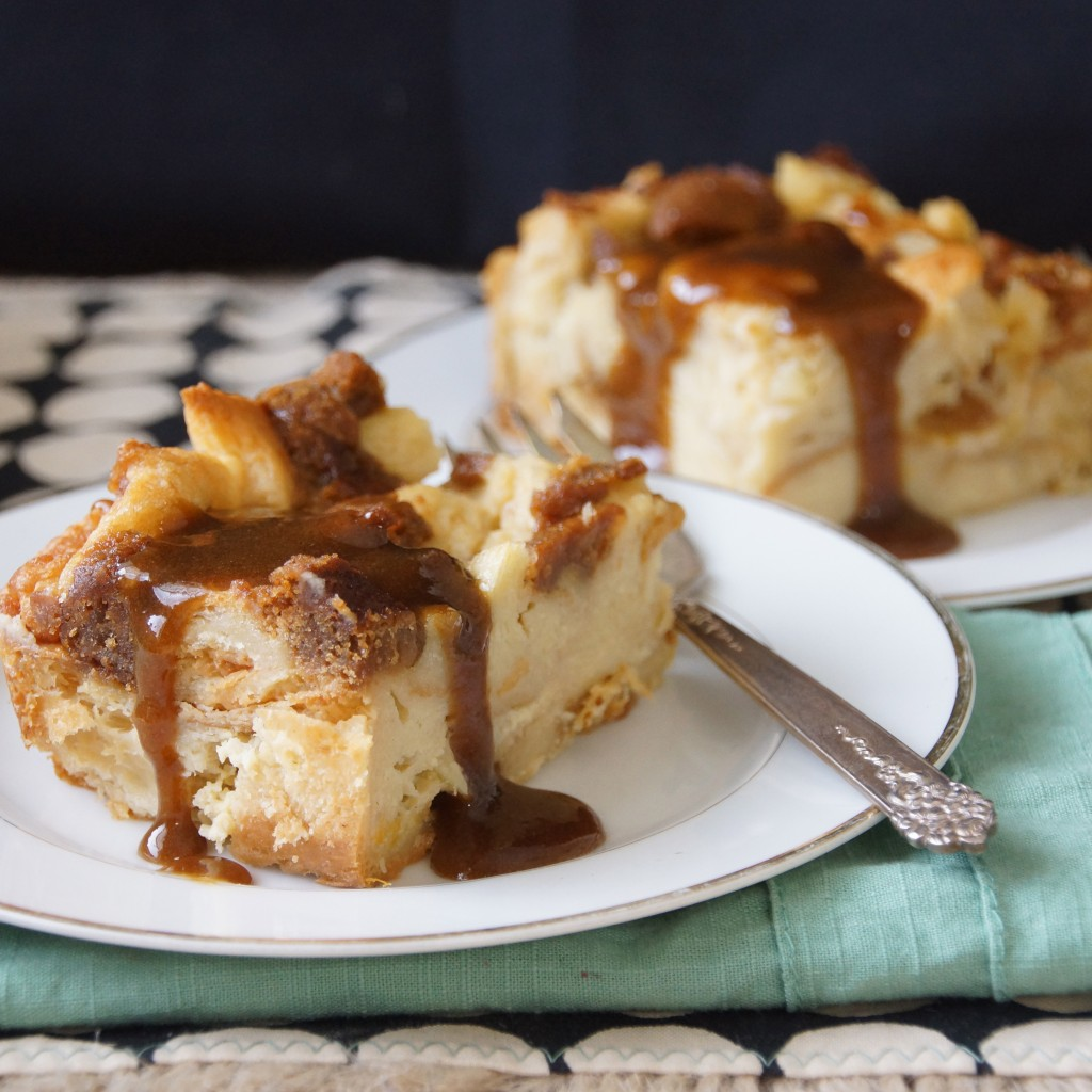 Gingersnap Bread Pudding with Bourbon Butter Sauce