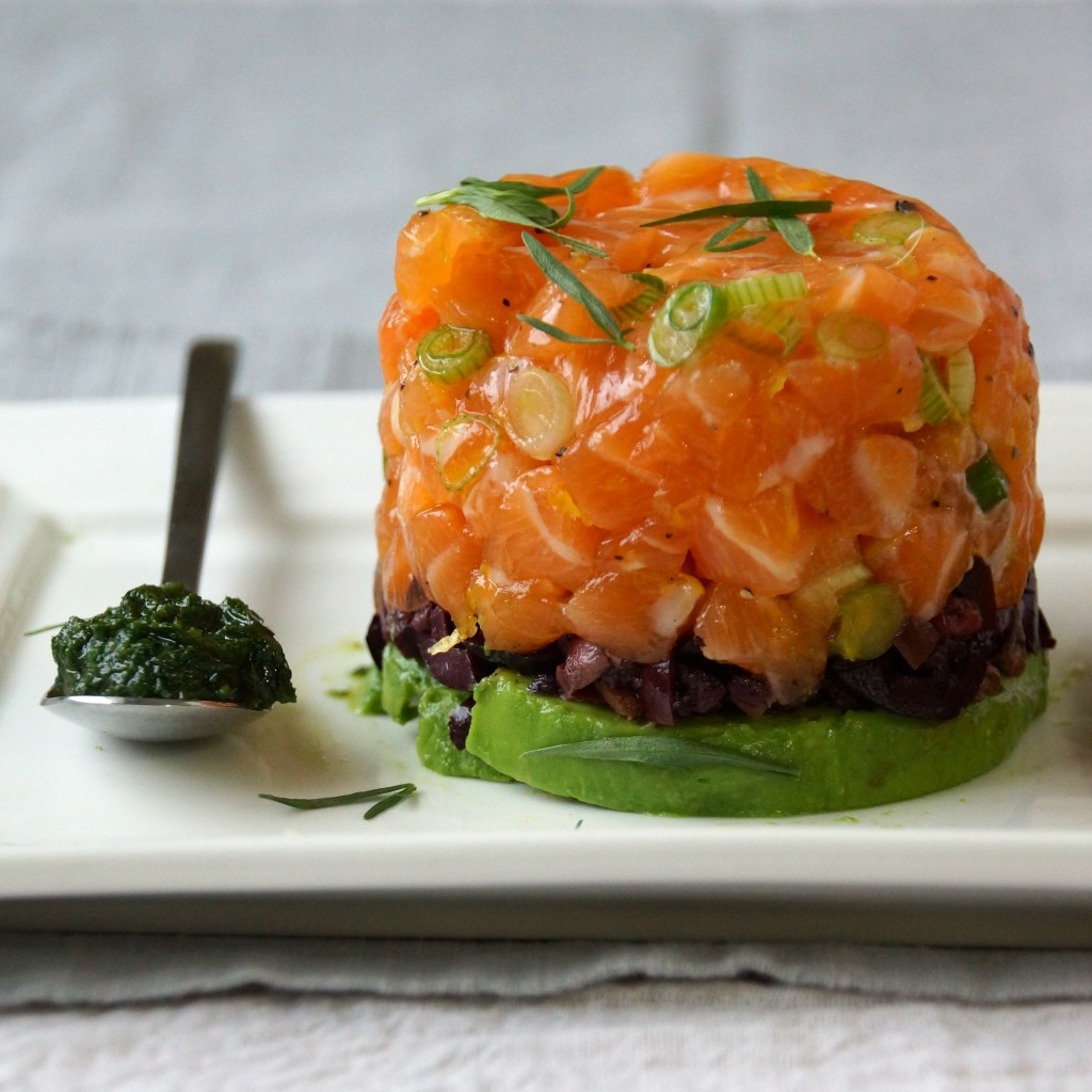 Salmon Tartare with Avocado, Olives & Tarragon