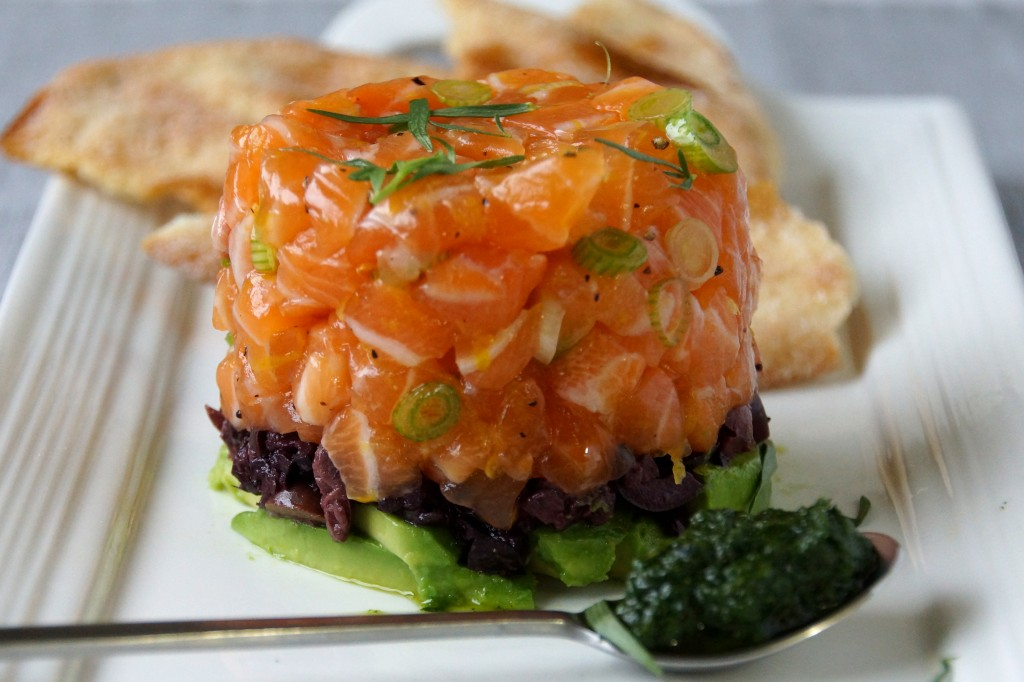 Salmon tartare with avocado olives tarragon strawberryplum salmon tartare with avocado olives tarragon ccuart Gallery