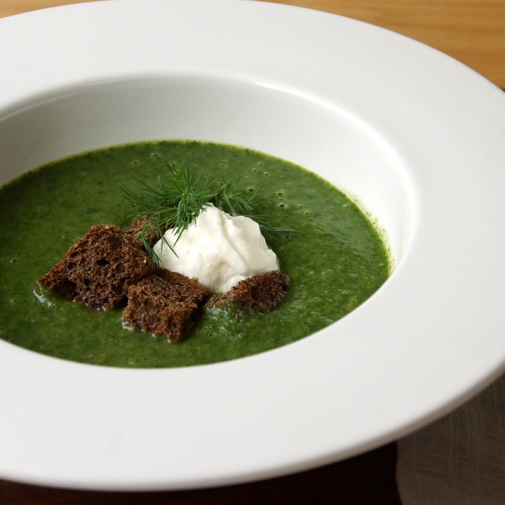 Spinach & Dill Soup with Pumpernickel Croutons
