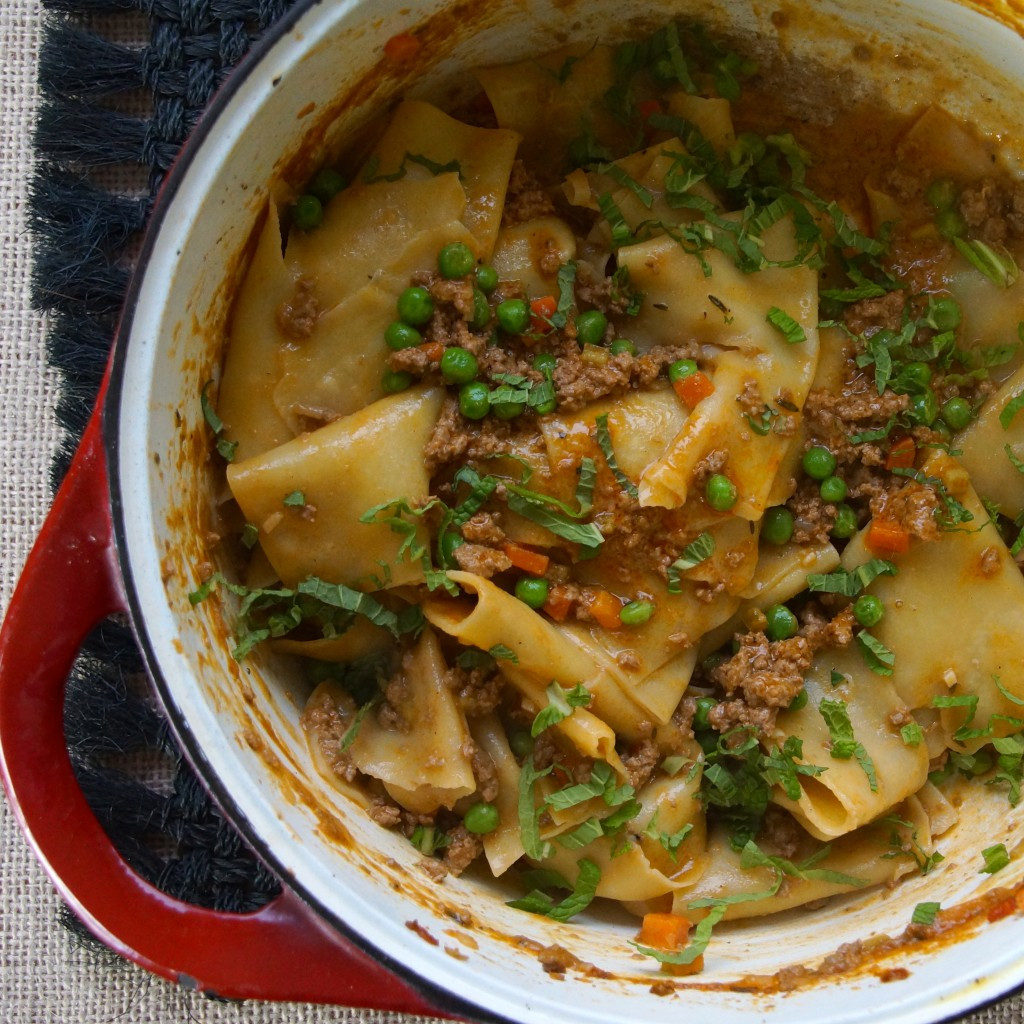 Lamb Bolognese with Peas & Mint