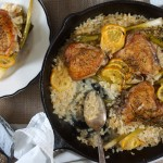 Baked Risotto with Chicken Thighs, Lemon & Scallions