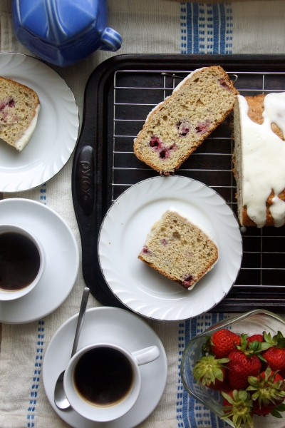 Raspberry-Rhubarb Quick Bread with Cream Cheese Glaze