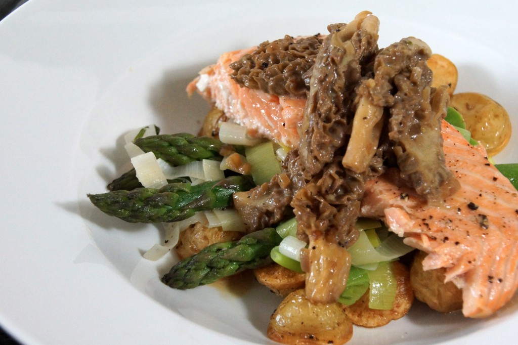 Salmon with Morel Mushrooms, Asparagus & Leeks