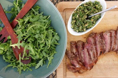 Grilled NY Strip Steak with Salsa Verde