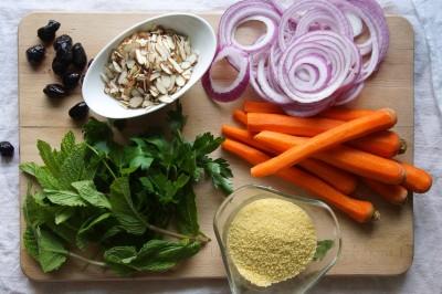 Couscous Salad with Carrots, Mint & Olives