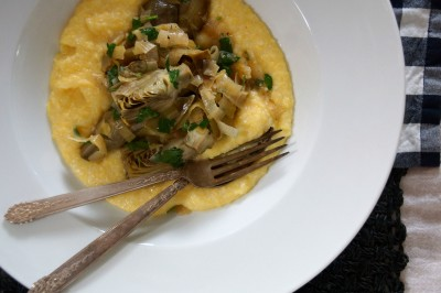Braised Baby Artichokes with Creamy Polenta