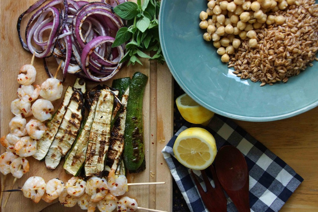 Farro, Chickpea & Grilled Zucchini Salad with Shrimp
