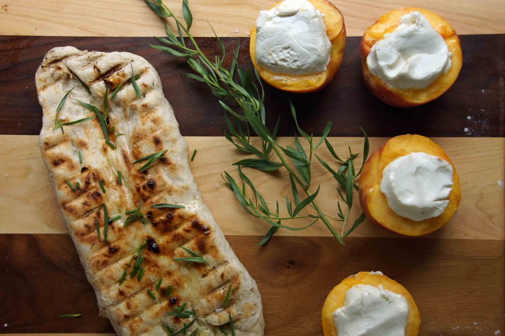 Grilled Herby Flatbread & Chevre Stuffed Peaches