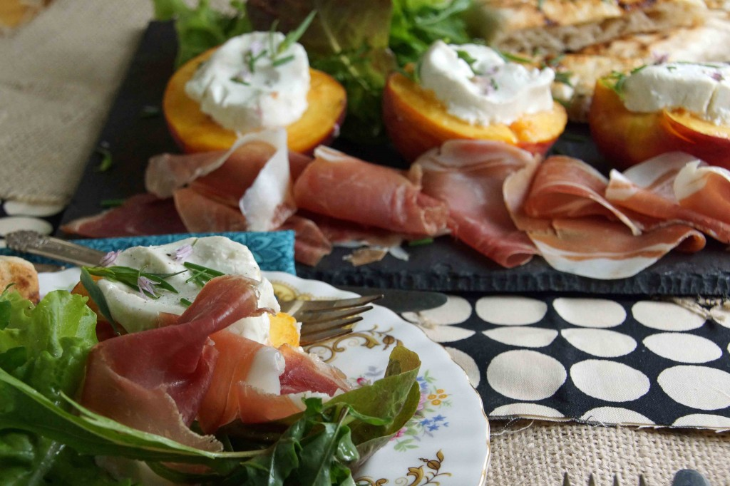 Grilled Peaches with Chevre, Prosciutto & Greens