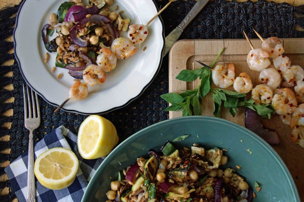 Grilled Shrimp with Farro & Chickpea Salad