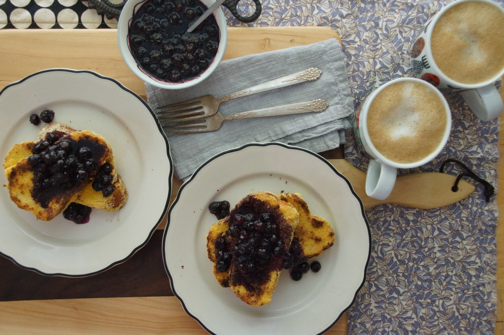 Cornmeal-Buttermilk French Toast with Maple-Blueberry Sauce