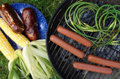 Grilling Garlic Scapes & Hot Dogs