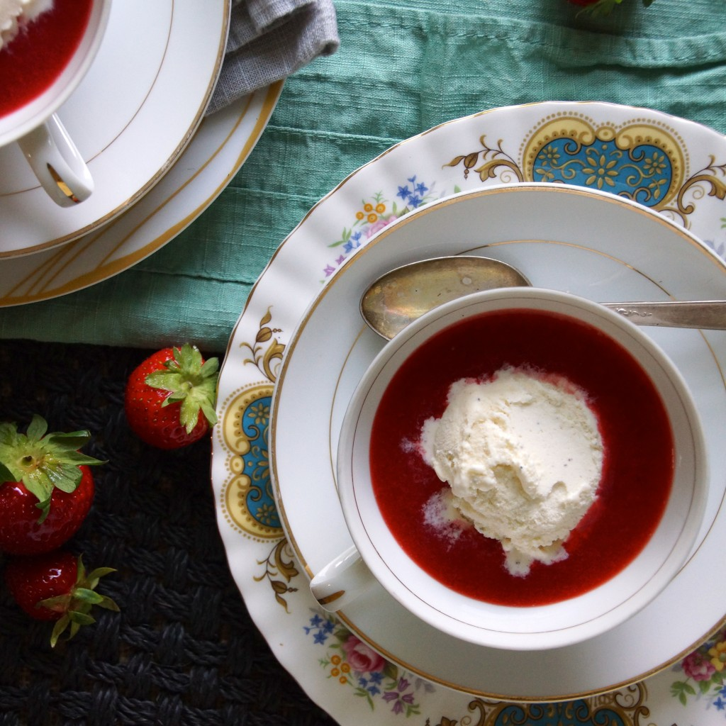 Chilled Strawberry Almond Butter Soup Recipe — Dishmaps