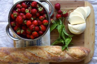 Strawberry, Mozzarella & Basil Crostini