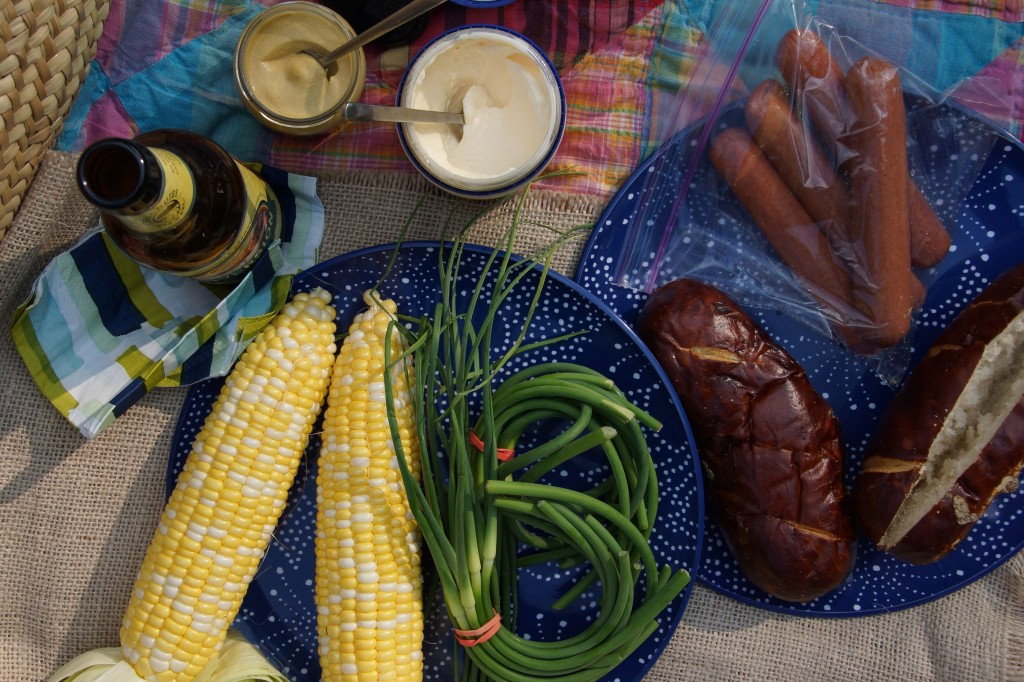 Grilled Garlic Scapes & Sweet Corn