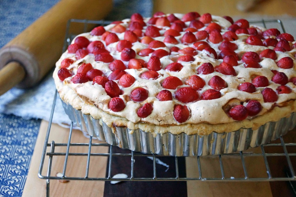 Sour Cherry & Almond Meringue Tart