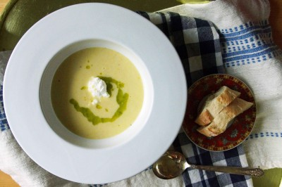 Sweet Corn Soup with Ricotta & Basil OIl