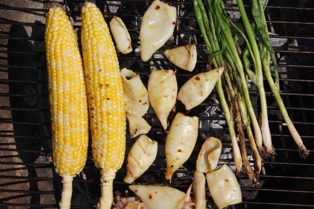 Grilled Calamari, Corn, and Scallions