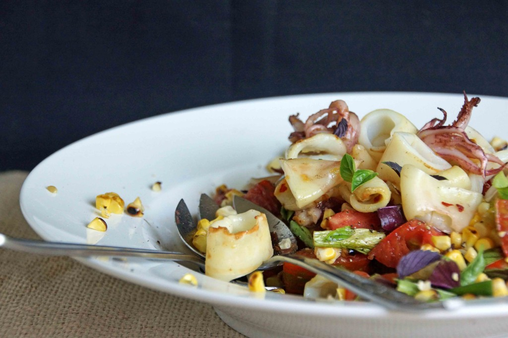 Grilled Calamari with Corn, Tomato & Basil Salad