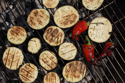Grilled Eggplant & Peppers