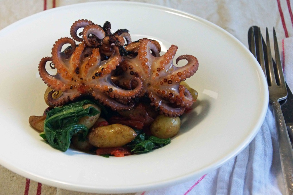 Grilled Octopus with Roasted Tomatoes, Potatoes & Chard