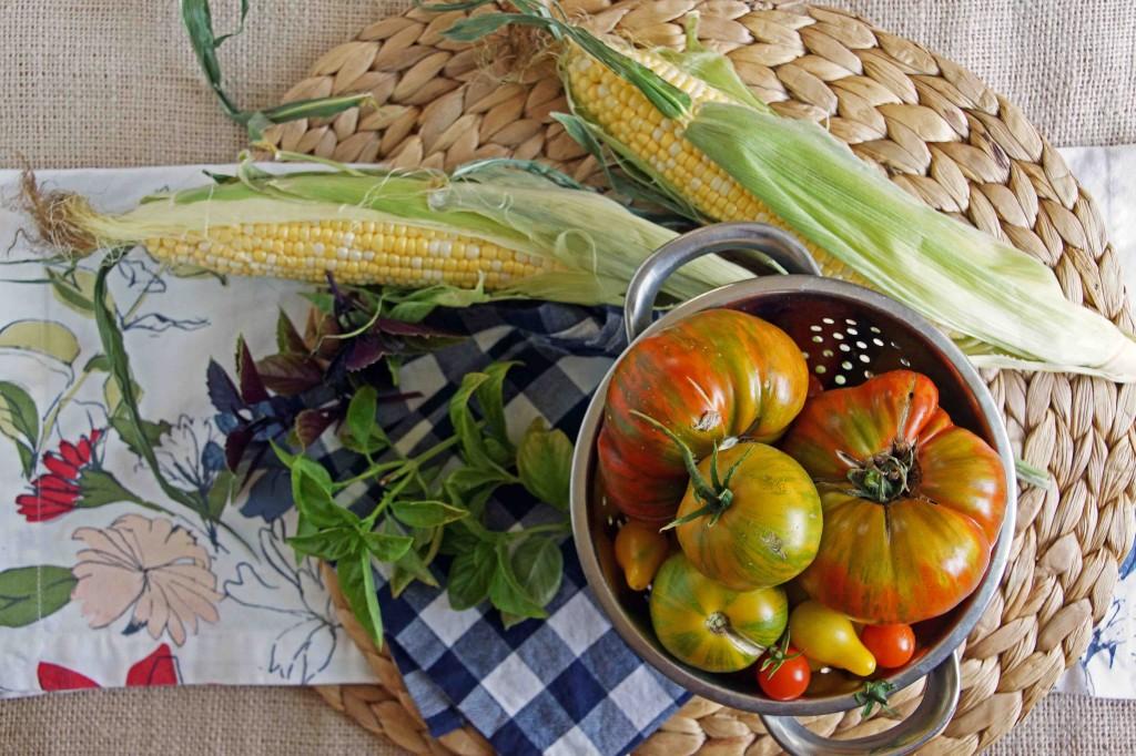 Heirloom Tomatoes, Sweet Corn, Green & Purple Basil