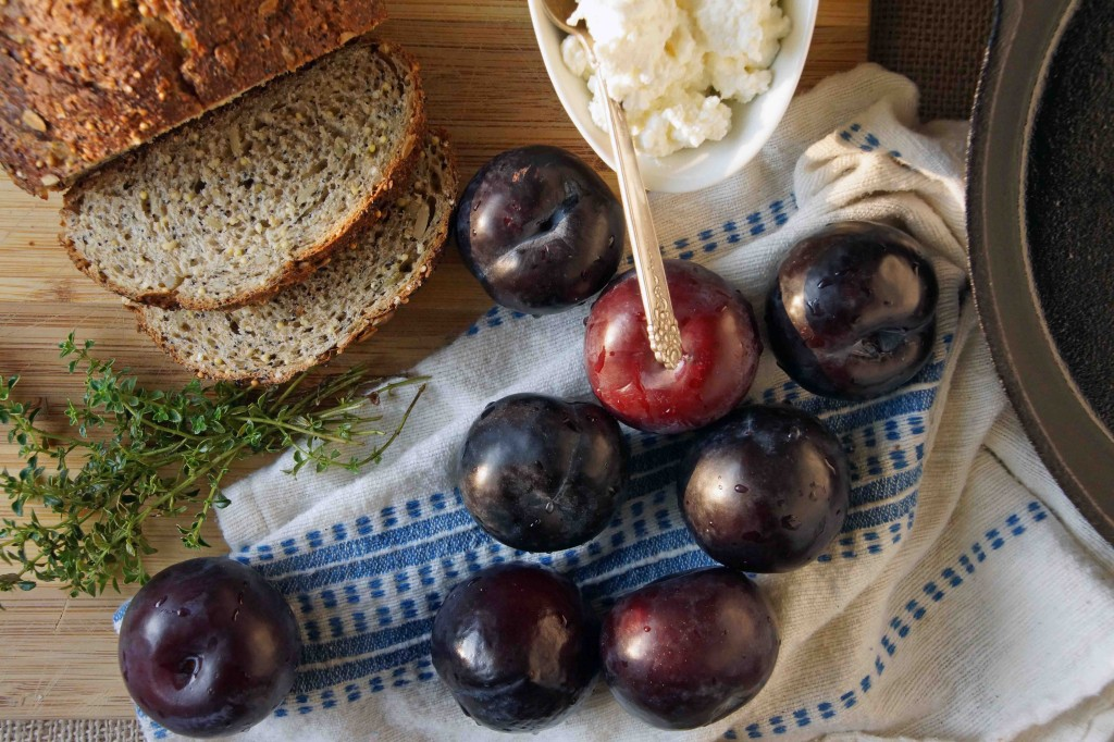 Plums, Ricotta & Seedy Bread