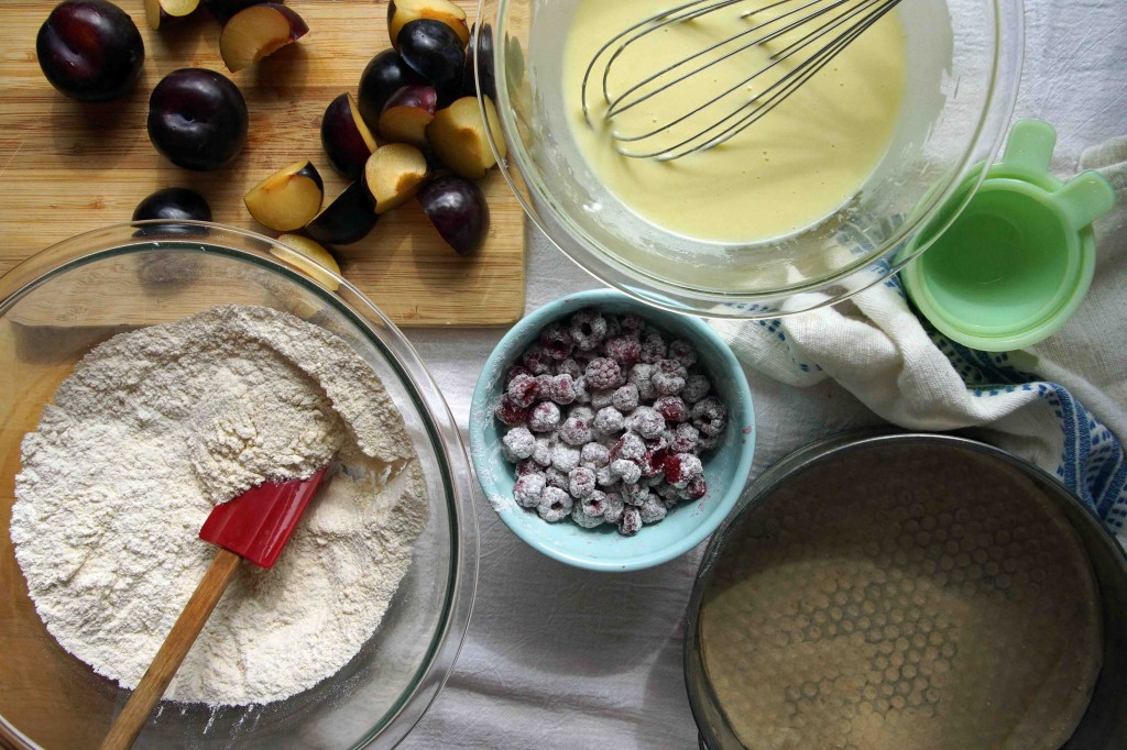 Prepped Ingredients--Raspberry & Plum Yogurt-Olive Oil Cake
