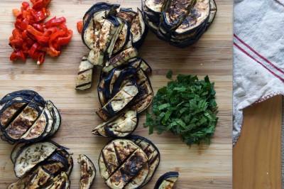 Prepped Ingredients for Eggplant Salad