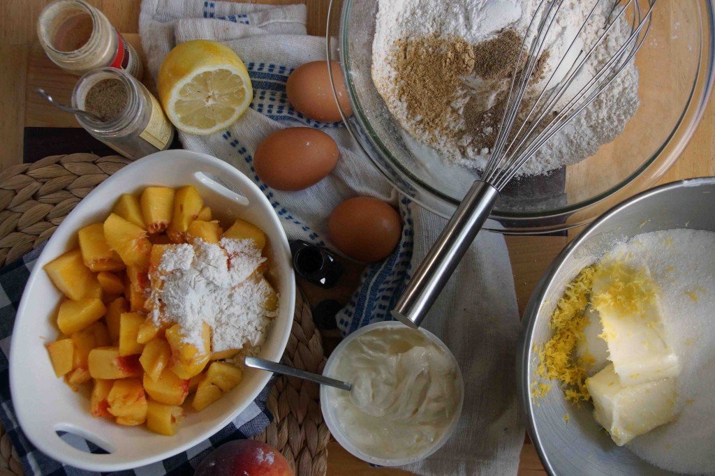 Prepping Ingredients for Peach Bundt