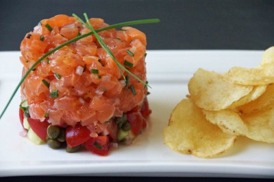 Salmon Tartare with Tomatoes, Capers & Cucmbers