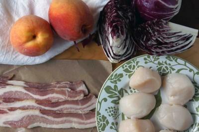 Scallops, Bacon, Peaches, Radicchio