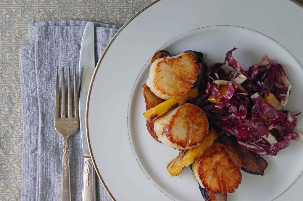Scallops with Bacon, Peaches & Radicchio Slaw