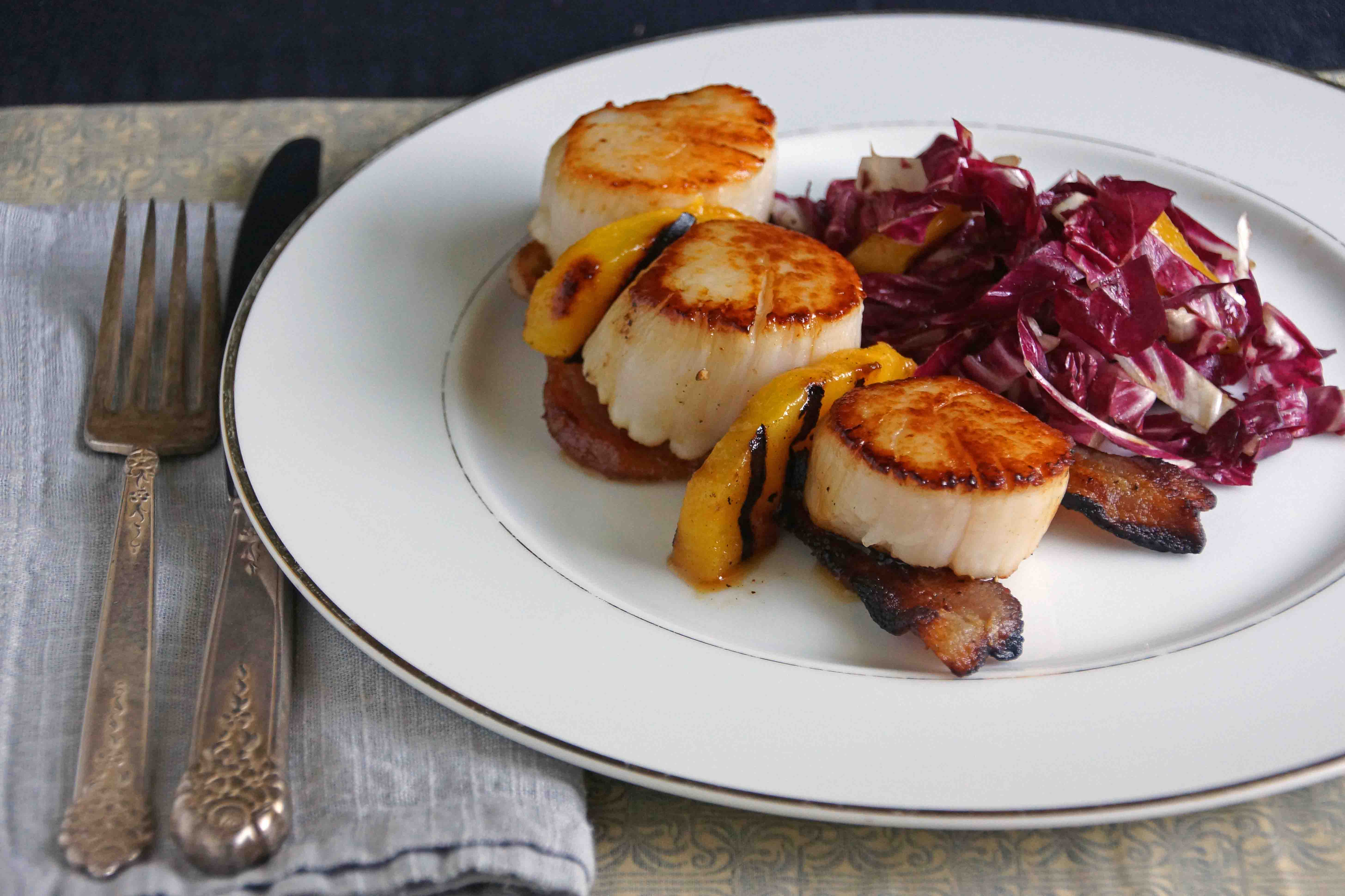 Sea Scallops with Bacon, Peaches & Radicchio Slaw | strawberryplum
