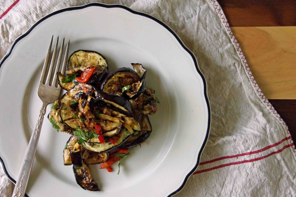 Sweet & Sour Grilled Eggplant Salad with Mint & Fresno Pepper
