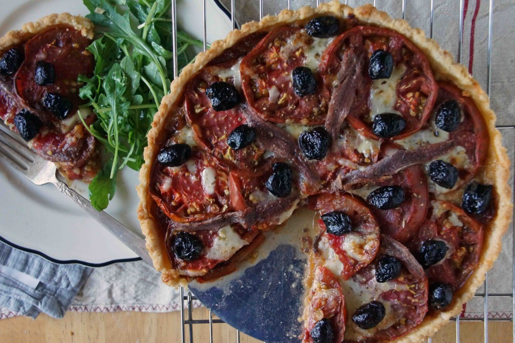 Tomato Tart with Caramelized Onions, Olives, Fontina & Anchovies