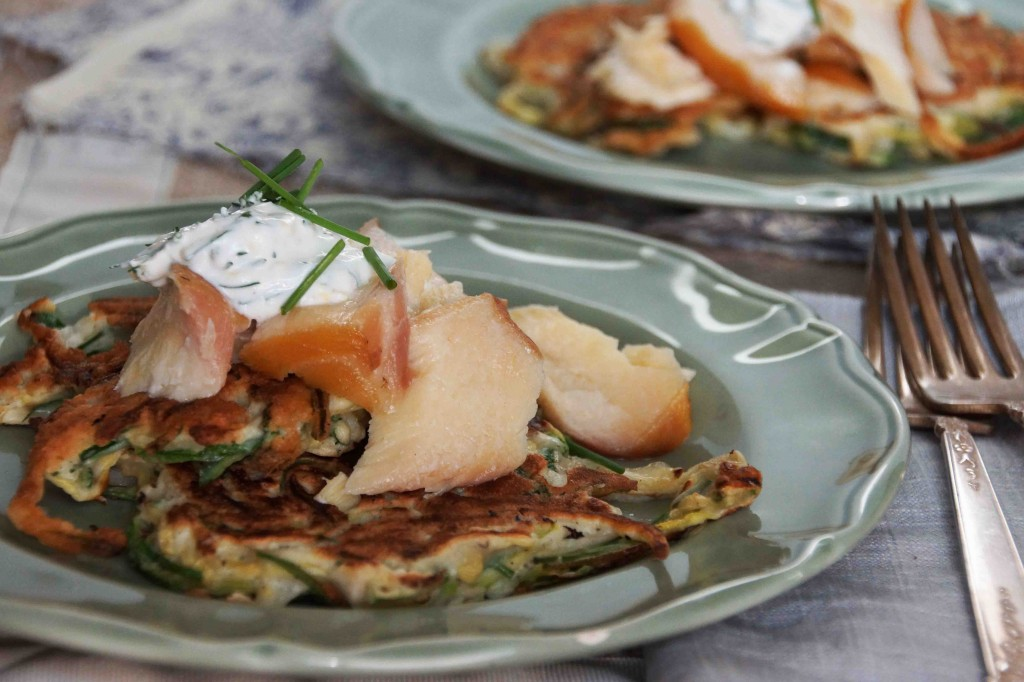 Zucchini Pancakes with Smoked Trout.